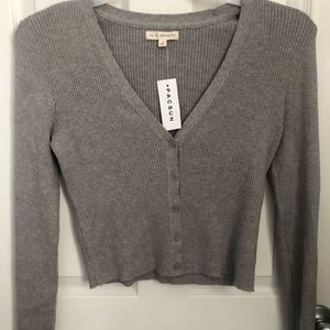 PacSun Light Gray cropped Cardigan